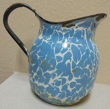 "Vintage  Blue & White Porcelain Enamel Enamelware Pitcher  7"" tall"