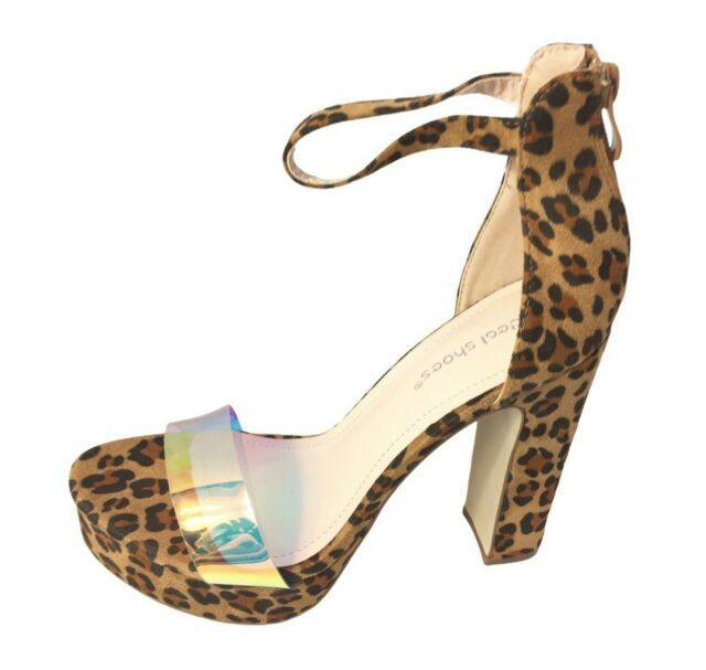Womens Ladies Leopard Print Faux Suede High Heel Party Shoes Sandals Size 4 New