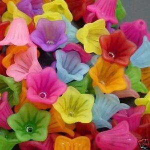 100pcs 15mm transparent flower beads mix colour jewellery making craft UK
