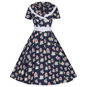 Navy-Blue-Polka-Dot-Rose-Print-Belted-Rockabilly-Cocktail-50s-Prom-Swing-Dress