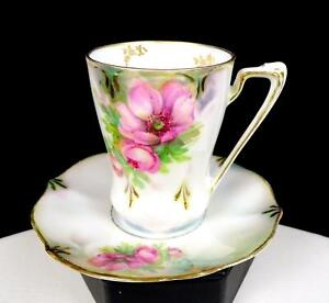 "RS PRUSSIA PORCELAIN PINK ROSE LUSTERWARE GOLD 3"" DEMITASSE CUP & SAUCER 1880-"