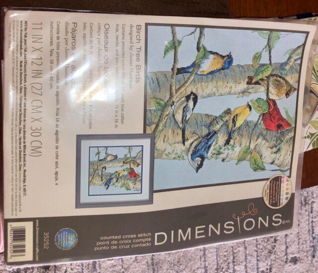 DIMENSIONS BIRCH TREE BIRDS Counted Cross STITCH KIT #35252 James Hautman NEW