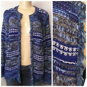 129-Chicos-Size-M-Structured-Fringe-Cardigan-Sweater-L-S-Pattern-Blue-Multi-NWT