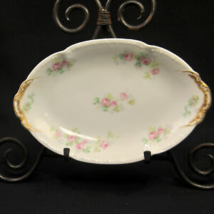 GDA-Charles-Field-Haviland-Limoges-Oval-Dish-Tray-Pink-Roses-Green-Shamrock-Gold
