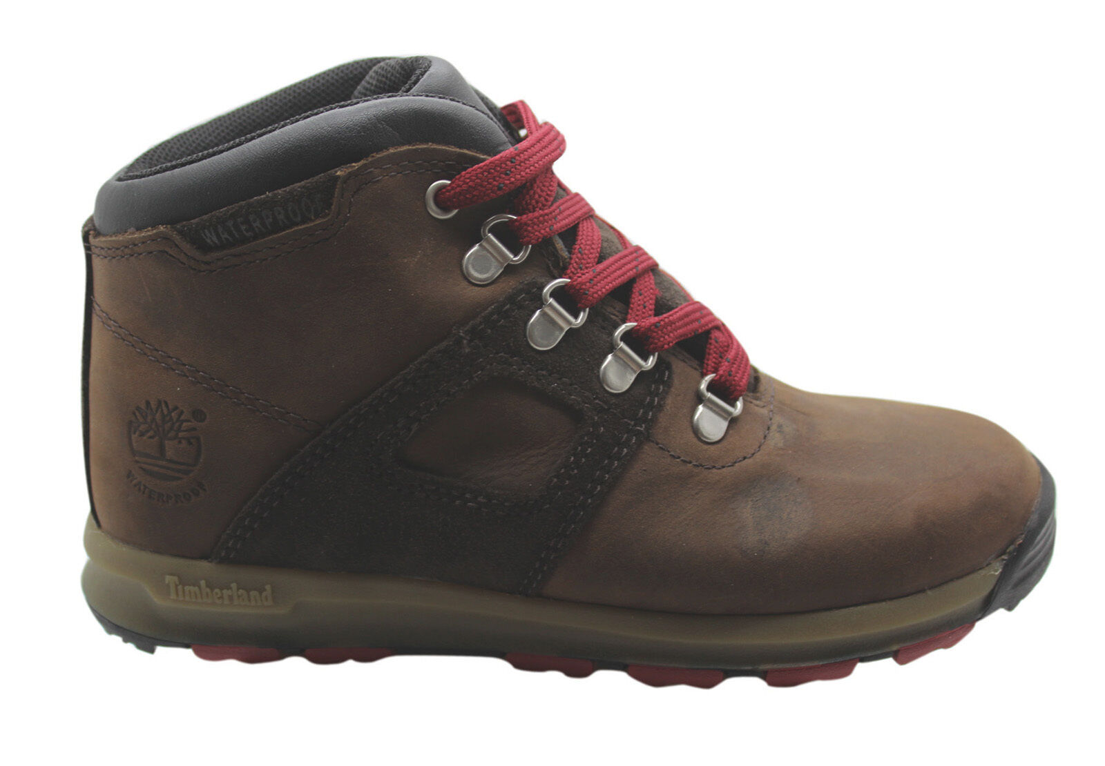 Details about Timberland Scramble Waterproof Youths Hiker Boots Brown Leather Hiking 4879R B73