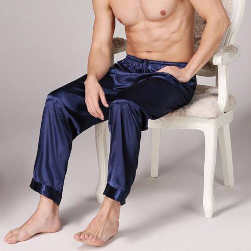 Mens Casual Lace Up Loose Fit Straight Pajama Pants Sleepwear Nightwear Trousers