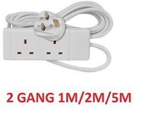Extension Lead UK Socket Cord Gang Plug Power électrique Flex 4//6 Way 2//5m