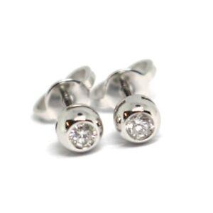 Boucles-D-039-Oreilles-or-Blanc-750-18k-Diamants-0-12-Carat-Monture-Ronde-Bush