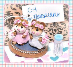 Wee-Forest-Folk-C-4-The-Flower-Girls-Cinderella-039-s-Wedding-RETIRED-Pink-Blue