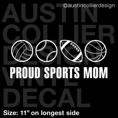 "11/"" SPORTS MOM vinyl decal car sticker volleyball baseball football basketball"