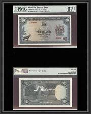 TT PK 33b 1973-76 RHODESIA 10 DOLLARS PMG 67 EPQ SUPERB GEM UNC. NONE FINER