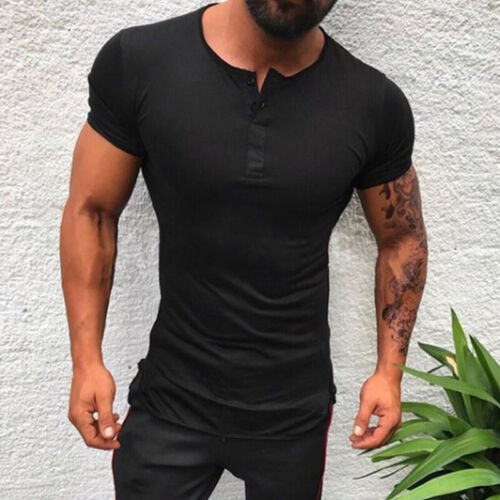 Mens T Shirt Slim Fit Muscle Tops Short Sleeve Plain Designer Summer Casual Tee
