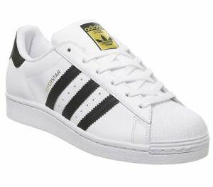 Da-Donna-Adidas-Superstar-GS-Scarpe-Da-Ginnastica-Bianco-Nero-Scarpe-Da-Ginnastica-Bianco