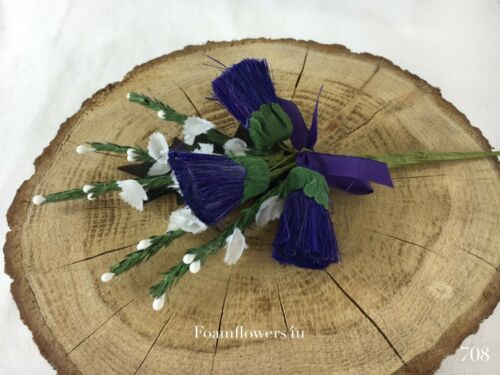 Purple /& White Scottish Traditional Artificial Heather Thistle Flower Buttonhole