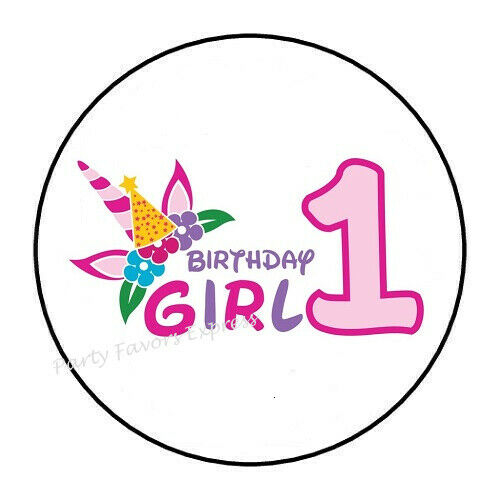 30 GIRL 1ST BIRTHDAY UNICORN ENVELOPE SEALS LABELS STICKERS PARTY FAVORS 1.5/""
