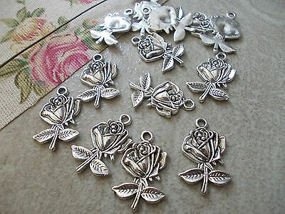 Emblem for England,Silver Tibetan Charms,Pendant,Rose 20 x English Roses