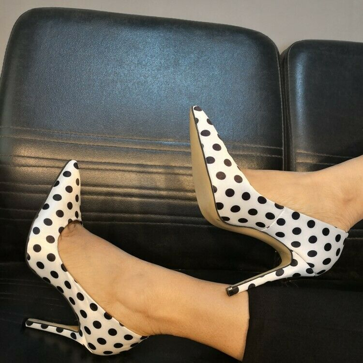 Occident Womens Sexy Dot Pointy Toe Pumps High Heel Dress Party OL shoes Plus SZ