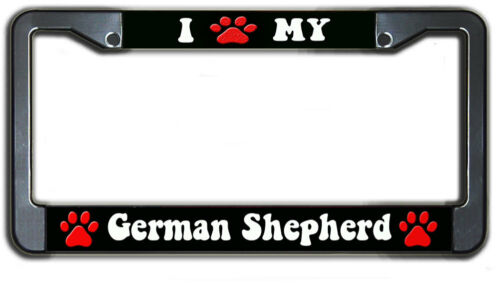 I Love My German Shepherd Pet Dog Metal License Plate Frame Holder