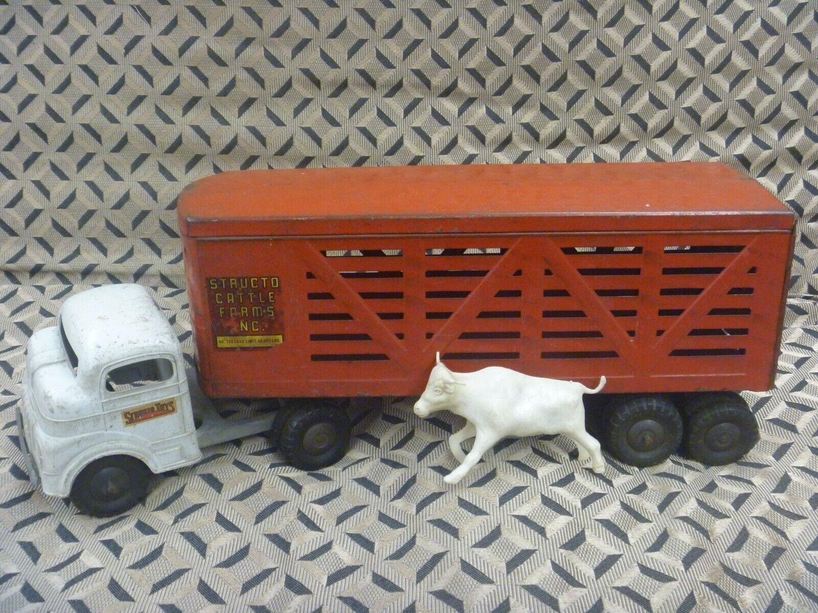 Structo 1950's Cattle Hauler Hauler Hauler Semi Truck ff4