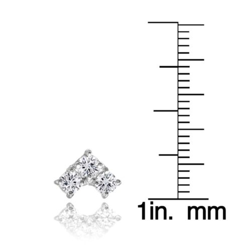 Three Stone CZ Triangle Stud Earrings in Sterling Silver