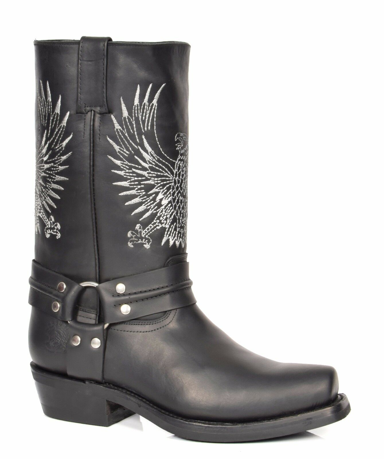 Leather Cowboy Boots Slip on Square Toe Calf Length Western Heels Black