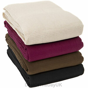 large 100 cotton sofa throws single double king size bed throw arm chair covers ebay. Black Bedroom Furniture Sets. Home Design Ideas