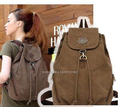 Women Vintage Canvas Travel Satchel Shoulder Bag Backpack Student Retro Rucksack