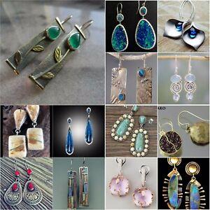 Vintage-925-Silver-Sapphire-Emerald-Opal-Ear-Stud-Dangle-Drop-Earrings-Wedding