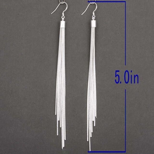 Fashion Jewelry Noble Tassels Silver Plated Long Hook Dangle Earrings Women