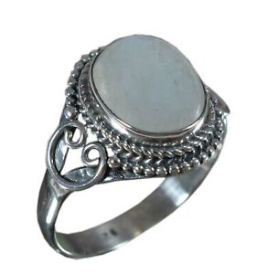 925-Solid-Sterling-Silver-Ring-Natural-Rainbow-Moonstone-US-Size-6-7-8-8-25-R571
