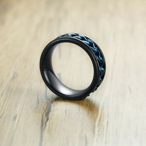 Black Stainless Steel Blue Chain Grooved Edge Spinning Band Ring Size 7-13