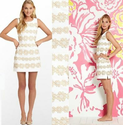 $278 Lilly Pulitzer Resort White & Gold Truly Petal Lace Delia Shift Dress
