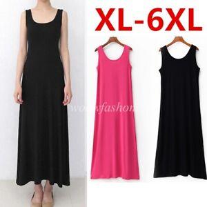 Women Scoop Neck Full Slip Plain Long Vest Dresses Camisole Liner Under dress