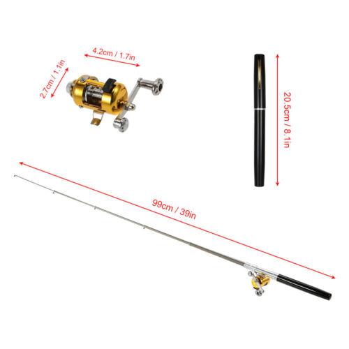 Mini Angelset Teleskop Stift Angelrute 2.1:1 Spinrolle Angelgeräte Köder P5S8