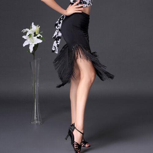 Women Latin Salsa Tango Rumba Cha Cha Square Ballroom Dance Dress Skirt Tassel