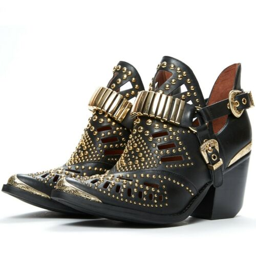 Jeffrey Campbell Calhoun-4 Black Leather Gold Metal Pointed Toe Western Bootie