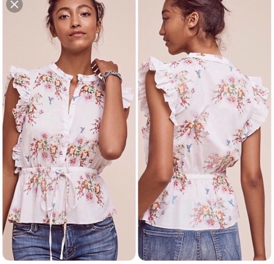 Nwt Anthropologie Carolina K Nepeta Blouse In Water Farbe Flowers S