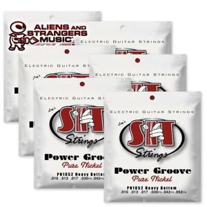 6 Sets! SIT Strings PN1052 Heavy Bottom Power Groove Pure Nickel .010-.052