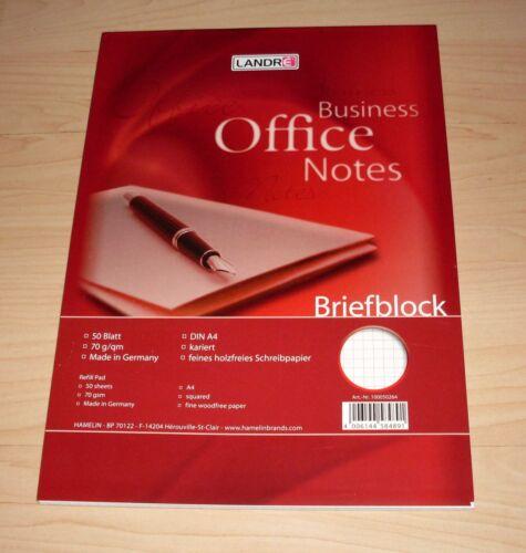 Briefblock Block kariert weiss mit Kästchen Landre 70 g//qm DIN A4 50 Blatt Neu