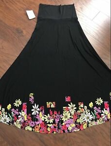 Clothing, Shoes & Accessories Lularoe Maxi Skirt Xs Black Floral Roses Nwt 2019 Official