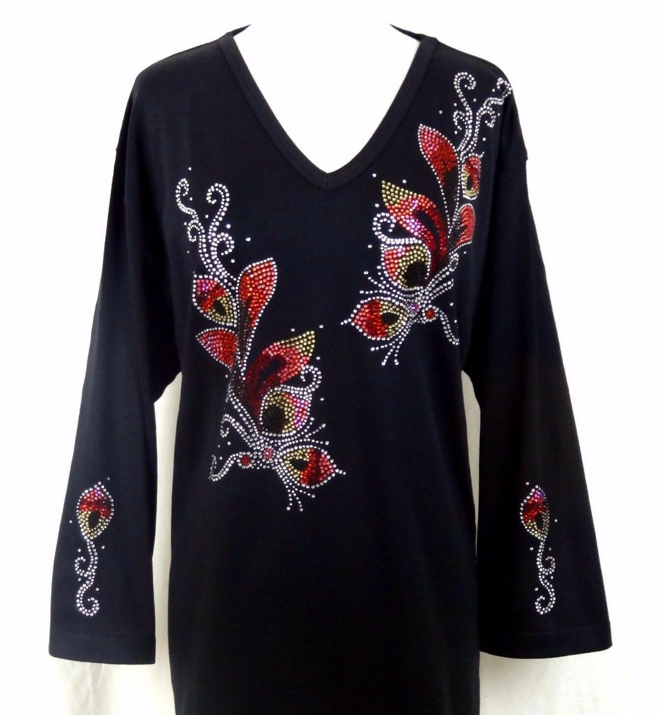LARGE Hand Embellished All Rhinestone Fancy Autumn Floral Design Long Top