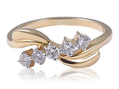 Classy 0.35 Cts Natural Diamonds Engagement Ring In Hallmark 18Karat Yellow Gold