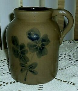 New-Primitive-Country-Rustic-BLUE-FLOWER-CROCK-WITH-HANDLE-Jug-Vase-Jar-6-034