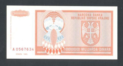 CROATIA KRAJINA  1 000 000 000 000  1Milliard  Dinara 1993 UNC     PR17a