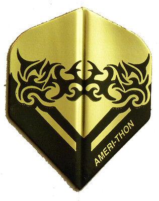 Dart Flights- 1 Black & Gold Tribal Art Tattoo Std Set