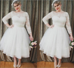 Details about 3/4 Sleeves Plus Size Wedding Dress Tea Length White Ivory  Bridal Gowns Custom