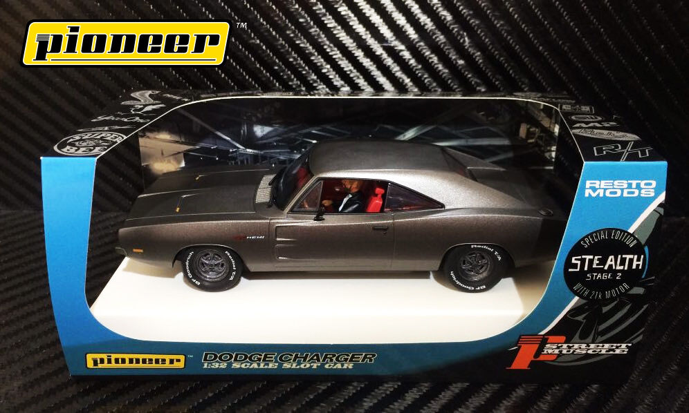Pioneer Slot Car P092 Dodge Charger 426 Hemi Stealth Grey Limited Edition