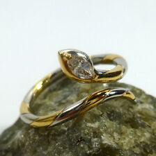 Ring Schlangering 52 (16,5 mm Ø) 750/18k Gold Diamant Pt950 Platin Damenring