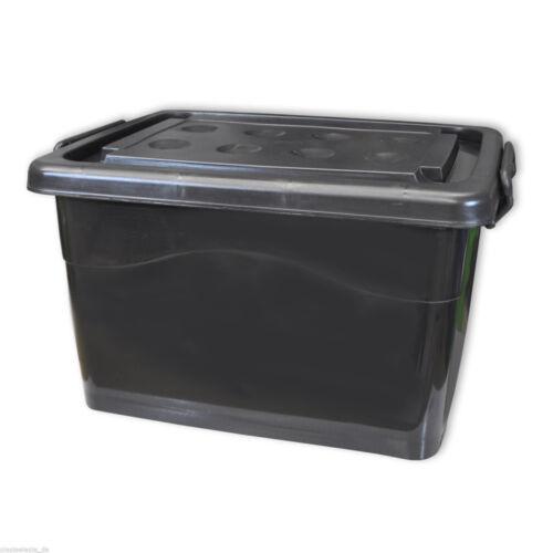 Caisse de rangement en plastique Noir robuste 40 L, coffre à roulettes (22257)