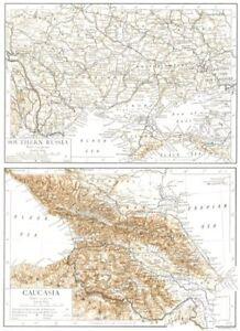 Map Of Georgia Southern.Ukraine Caucasia Georgia Southern Russia Azerbaijan 1910 Old